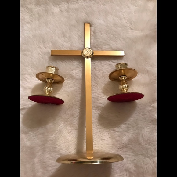 Brass Cross and Candle Holders